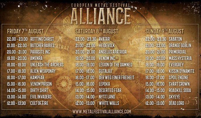 European Metal Festival ALLIANCE : Running Order